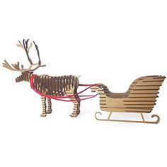 Paper Maker DIY 3D Puzzle Christmas Reindeer and Sled Model Craft Decoration