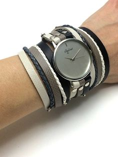 Wrap Watch In Black White And Gray Leather-Wrap Watches For Women-Wrap Bracelet Watch-Leather Wrap Watch-Double Wrap Watch-Wrap Watches