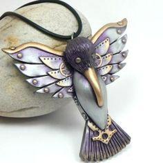 Purple Gold Hummingbird Pendant Steampunk Watch Gear Industrial Wings | DesertRubble - Jewelry on ArtFire