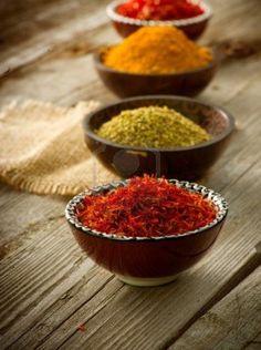 Spices Saffron, turmeric, curry Stock Photo