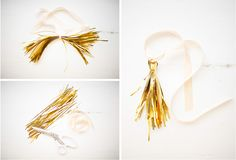making gold tinsel tassels out of gold tinsel - diy -Wedding Blog DIY Gift Wrap: Ed. 02