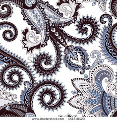 seamless pattern with paisley, swirls in blue brown  tones