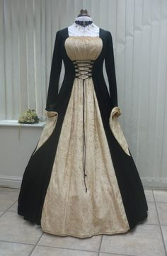 Medieval Gothic black and gold velvet dress, Medieval Dresses and Gowns for Weddings, Handfasting Ceremonies and other Special Occasions Renaissance Costume, Renaissance Dresses, Medieval Dress, Medieval Gothic, Medieval Fashion, Medieval Clothing, Ball Gown Dresses, Dress Up, Gold Velvet Dress