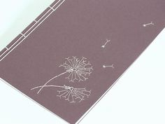 Hand Embroidered Japanese Notebook / Dandelion Flowers