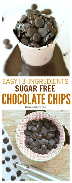 Only 3 ingredients to make those lovely sugar free chocolate chips. Perfect for sugar free baking, cookies, smoothies or as a diabetes friendly snack in your trail mix. sugar free, paleo friendly and dairy free. Sugar Free Baking, Sugar Free Desserts, Sugar Free Recipes, Sugar Free Cereal, Sugar Free Chocolate Chips, Chocolate Chip Recipes, Chocolate Desserts, Diabetic Chocolate, Homemade Chocolate Chips