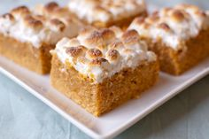 Sweet Potato Casserole Cookie Bars   adapted from Scarletta Bakes: The bars are denser than cake, and a little lighter than a brownie or blondie.  Sweet potato puree is mixed into a batter that's full of warm fall spices:  cinnamon, nutmeg, and ginger.  And then after they are baked, they are topped with marshmallows and toasted.