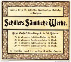 Original-Werbung/ Anzeige 1898 - SCHILLERS SÄMTLICHE WERKE / COTTA - STUTTGART…