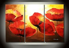 abstract flower canvas abstract art for sale,High quality abstract art 3 piece canvas painting Large red poppy flower home decor 3 Canvas Paintings, Oil Painting On Canvas, Abstract Art For Sale, Abstract Canvas Art, Large Paintings For Sale, 3 Piece Canvas Art, Watercolor Poppies, Plaster Art, Flower Canvas