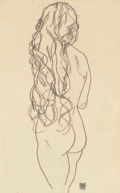 Nude Seen from Behind, Egon Schiele 1918   www.lab333.com  https://www.facebook.com/pages/LAB-STYLE/585086788169863  http://www.labs333style.com  www.lablikes.tumblr.com  www.pinterest.com/labstyle