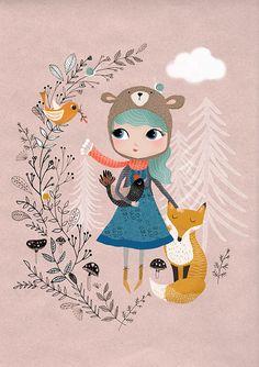 Chica de la naturaleza... Impresión de Giclee de una ilustración original