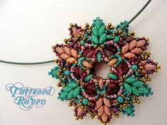 Super Duo Turquoise and Pink Pendant by tattooedraven on Etsy, $45.00