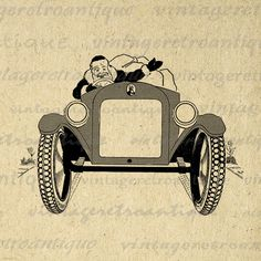 Printable Graphic Santa Claus Driving Antique Roadster Car