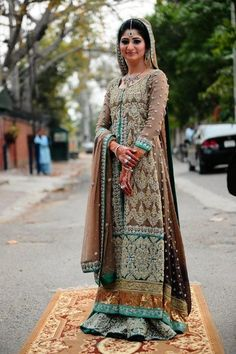 Bridal Collection Light Brown Long Shirt Sharara - Buy Latest Pakistani Bridal Fashion Dresses for Bride 2020 Prices Latest Pakistani Fashion, Pakistani Couture, Pakistani Wedding Dresses, Pakistani Outfits, Indian Outfits, Indian Fashion, Dress Collection, Bridal Collection, Walima Dress