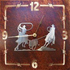 (TS058-256) ''Team Roping'' Western Wall Clock