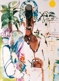 "I AM ONE OF THE ARTISTS SELECTED FOR THE BEARDEN 100 AND THIS WAS MY PICK OF HIS WATER COLOR ""LADY IN PARADISE"" 1986 Romare Bearden Centennial"