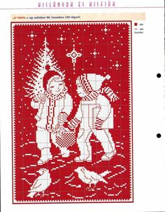 """Christmas; I like that the design is actually fabric left """"uncrossed""""! Counted cross stitch"""
