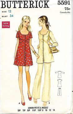 Butterick 5591 Misses Scoop Neck Dress And Pants Sewing pattern, Size 12, UNCUT by DawnsDesignBoutique on Etsy