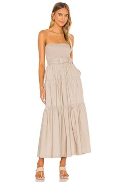 L'ACADEMIE The Nour Spaghetti Straps Midi Dress - We Select Dresses Tan Dresses, Nice Dresses, Formal Dresses, Casual Date Nights, Nour, Sophisticated Dress, Lace Up Flats, Vacation Dresses, Revolve Clothing