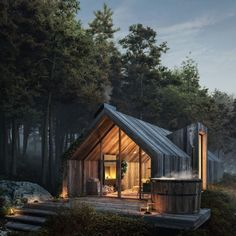 Modern Architecture House, Residential Architecture, Architecture Design, Sustainable Architecture, Modern Barn House, Modern Wooden House, Wooden House Design, Small Wooden House, Modern Cabins