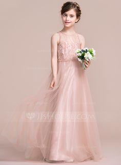 49c70ea89db4 A-Line Princess Scoop Neck Floor-Length Tulle Junior Bridesmaid Dress  (009095100. Abiti Per Damigelle ...