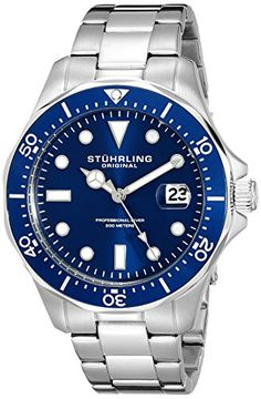 Men's Wrist Watches - Stuhrling Original Mens Aquadiver Dive Quartz Analog Waterproof Sports Blue Dial Wrist Watch Bracelet with Stainless Steel -- You can get more details by clicking on the image. (This is an Amazon affiliate link)