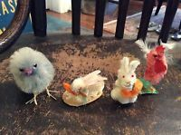 chenille vintage easter bunny chicken antique ornaments Japan Decoration