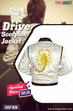 Don't wait to wear this Drive Scorpion Jacket that is worn by Ryan Gosling in Drive movie. This is an exceptional attire to wear while riding cars. Ryan Gosling Drive Jacket, Scorpion, Shop Now, Sweatshirts, How To Wear, Jackets, Men, Shopping, Fashion