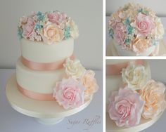 A two tier wedding cake with peach, pink, ivory and blue sugar flowers.  www.facebook.com/sugarruffles