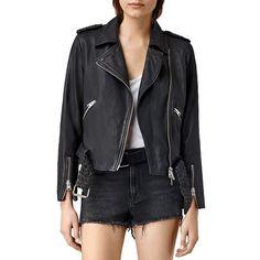 Allsaints Wyatt Suede Biker Jacket ($630) ❤ liked on Polyvore featuring outerwear, jackets, black, biker jacket, suede jacket, allsaints, floral jacket and moto jacket