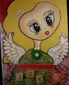 Hand painted Original painting of a Christmas Angel