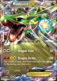 [C][C] Dragon Claw: 30 damage. [R][R][L][C] Dragon Strike: 130 damage. Flip a coin. If tails, this Pokémon can't use Dragon Strike during your next turn. Pokemon Cards For Sale, Cool Pokemon Cards, Rare Pokemon Cards, Pokemon Trading Card, Trading Cards, Pokemon Rayquaza, Dragon Type Pokemon, Star Cards, Pokémon Cards