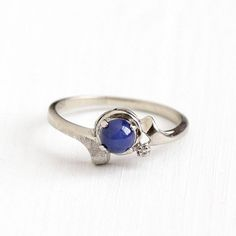 Sale - Vintage 10k White Gold Created Star Sapphire & Diamond Ring - Size 7 Retro Blue Asterism Cabochon September Birthstone Fine Jewelry by Maejean Vintage on Etsy