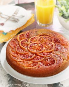 To Food with Love: Blood Orange Polenta Upside-down Cake Sweet Recipes, Cake Recipes, New Years Eve Dessert, Asian Cake, Food Website, French Pastries, Pastry Cake, Blood Orange, Polenta