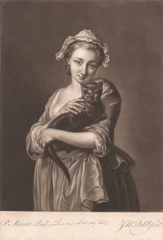 """""""Love Me, Love My Cat"""", c 1756. Print made by James McArdell, ca. 1729-1765; after Philippe Mercier, 1689 or 1691-1760, Yale Center for British Art"""