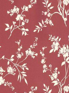 White Wildflower Botanical Toile on Cranberry Pink Wallpaper - Garden Floral, Modern, Shadow, Leaf - Pink Wallpaper Garden, Toile Wallpaper, Modern Laundry Rooms, Bathroom Modern, Leaf Crafts, Visual Texture, Vintage Design, Vintage Floral, Textiles
