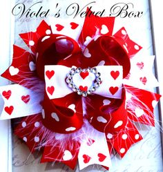 Valentine Hair bow- Valentines Day Bow- Luxurious Boutique Bow -by Violets Velvet Box
