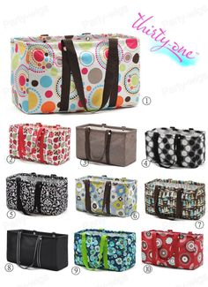 New Thirty One Large Utility Tote Shopping Laundry Storage Bags 10 Designs BA25 | eBay
