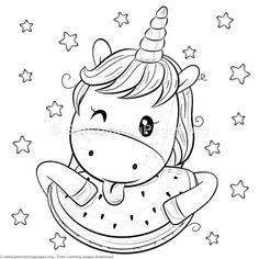 Kawaii Coloring Pages Coloring Pages Pinterest Unicorn