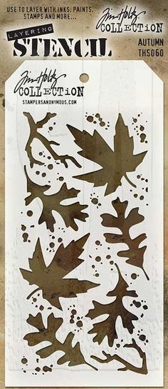 "Tim Holtz Layering Stencil: AutumnThere is no doubt the versatility of stencils make them the latest must have tools. Tim Holtz has designed these stencils so that they are a little more imperfect as a way to add texture and imagery.Use these stencils to layer inks, paints, stains - so many creative ways to use them to enhance your projects.Tag-shaped autumn themed stencil measures 4 1/8"" x 8 1/2"", with a convenient hole in top to attach with a Cable Binder Ring (sold separately)."