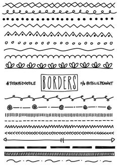 11 Simple Planner Doodles for Your Bullet Journal with Step by Step Process . - Journals and their Doodles - # Borders Bullet Journal, Bullet Journal 2019, Bullet Journal Inspiration, Bullet Journal Dividers, Journal Ideas, Bullet Journal Design Ideas, Journal Fonts, Bullet Journals, Planner Doodles