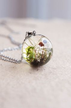 Whimsical Fungus Sphere Necklace One-of-a-kind gift by UralNature