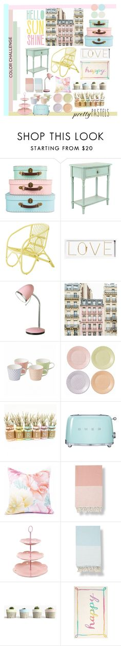 """""""Prttey Pastels"""" by melina-emma ❤ liked on Polyvore featuring interior, interiors, interior design, home, home decor, interior decorating, Bloomingville, Oliver Gal Artist Co., Royal Doulton and Smeg"""