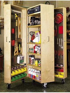 Mobile Tool Cabinet Put your tools within easy reach by rolling this sturdy cabinet right up to your work area. When you're through, simply close and lock the doors. - closes up & on wheels to store out of the way
