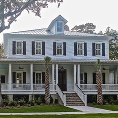 Southerners have perfected porches. We gathered 13 of our favorite house plans that feature show stopping wrap around porches to show just how versatile they can be! Colonial House Exteriors, Colonial House Plans, Southern Living House Plans, Craftsman House Plans, Country House Plans, Modern House Plans, Small House Plans, House Floor Plans, Wraparound Porch House Plans
