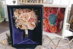 #weddingbouquet #shadowbox #preservedflowers #preservedweddingflowers #driedflowers Freeze Dried Flowers, Wedding Bouquets, Wedding Flowers, Brides Cake, Wedding Keepsakes, How To Preserve Flowers, Vintage Frames, Preserves, Flower Designs