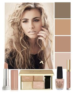 """""""Nude Lips"""" by the-messiah ❤ liked on Polyvore featuring beauty, Maybelline and OPI"""