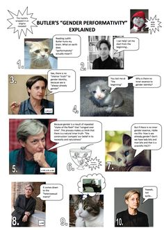 Judith Butler's Gender Trouble explained in Socratic dialogue style. With cats. Gender Performativity, Gender Issues, Gender Roles, Queer Theory, Literary Theory, Gender Studies, Women In History, Sociology, Butler