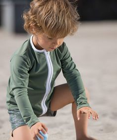 Star Swimshirt with Zipper // Army  #petitcrabe #tinyapple #swimsuit #swimwear #beach #pool #summer #kids #apparel #fashion #boys