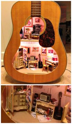 Dollhouse inside an acoustic guitar - how cool is this?!