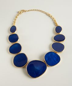 Kenneth Jay Lane gold and blue enameled stone bib necklace | BLUEFLY up to 70% off designer brands